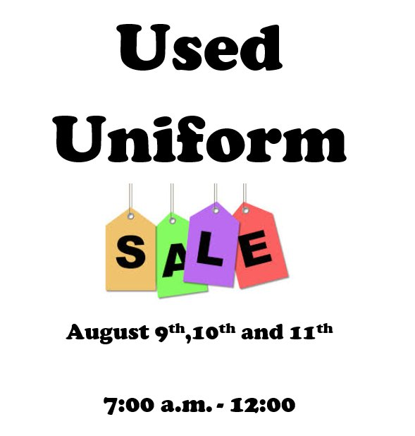 Annual Used Uniform Sale, August 9, 10, and 11 at Notre Dame Green Pond.